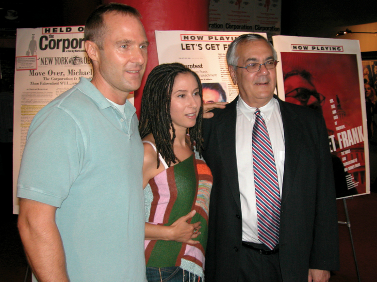 """Bart Everly (director), The Angel (composer) and Congressman Barney Frank at the New York premiere of """"Let's Get Frank"""""""